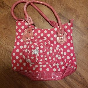 Pink Polka Dot Purse with Flower Detail